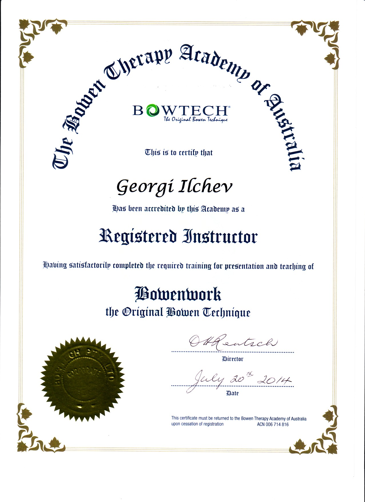 BOWTECH Instructor certificate
